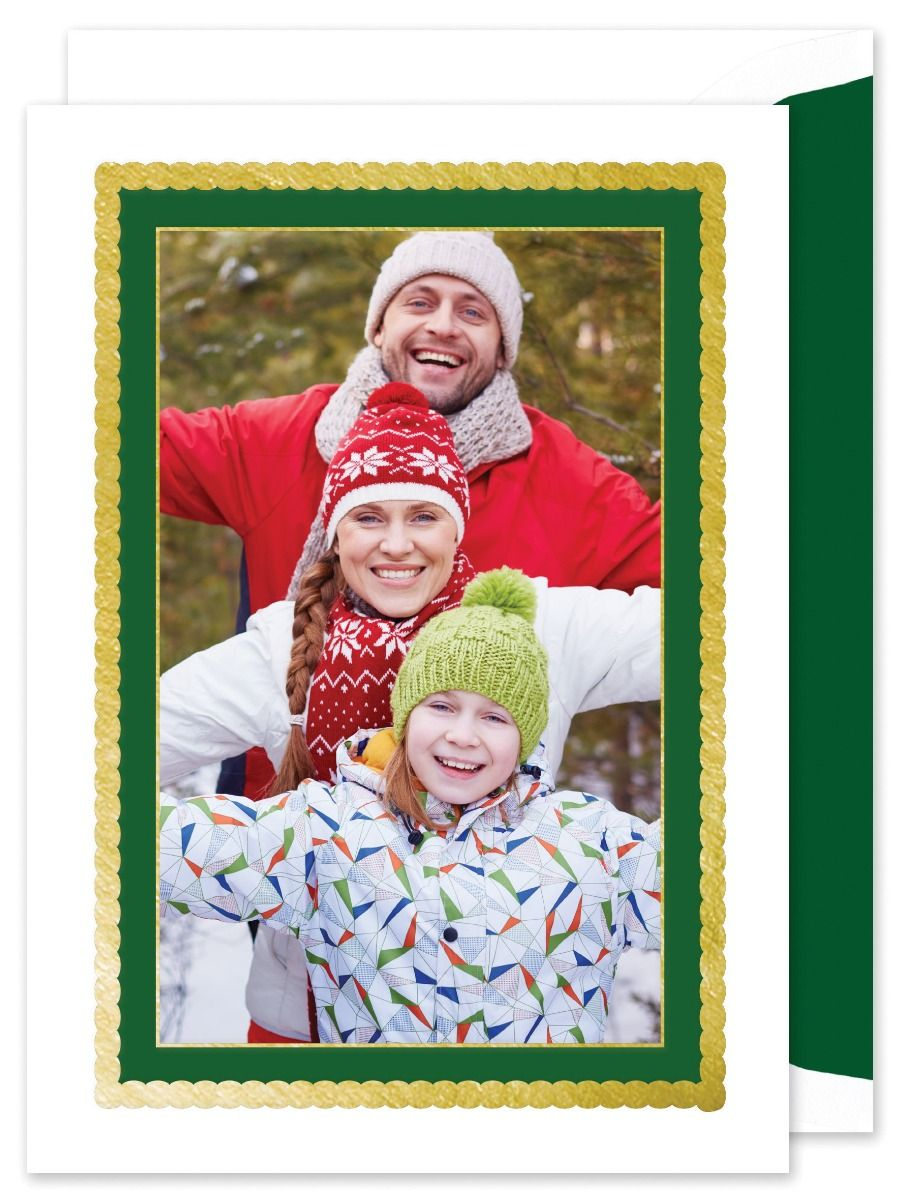 Green and Gold Foil Frame Photo Card