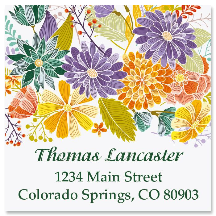 Bloom Large Square Custom Address Label