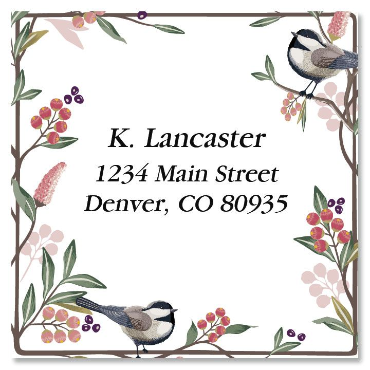 Berry Branch Large Square Custom Address Labels