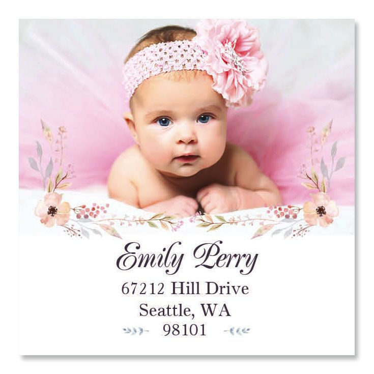 Floral Large Square Custom Photo Address Labels