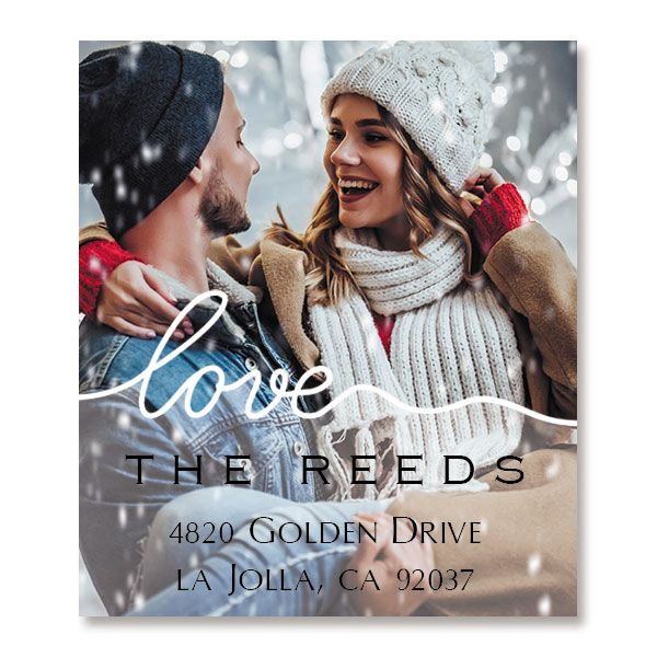 Love White Caption Select Photo Custom Address Labels
