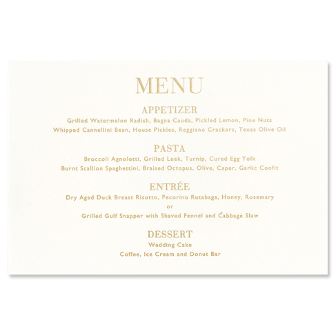 Oyster with Gold Trim Menu Card