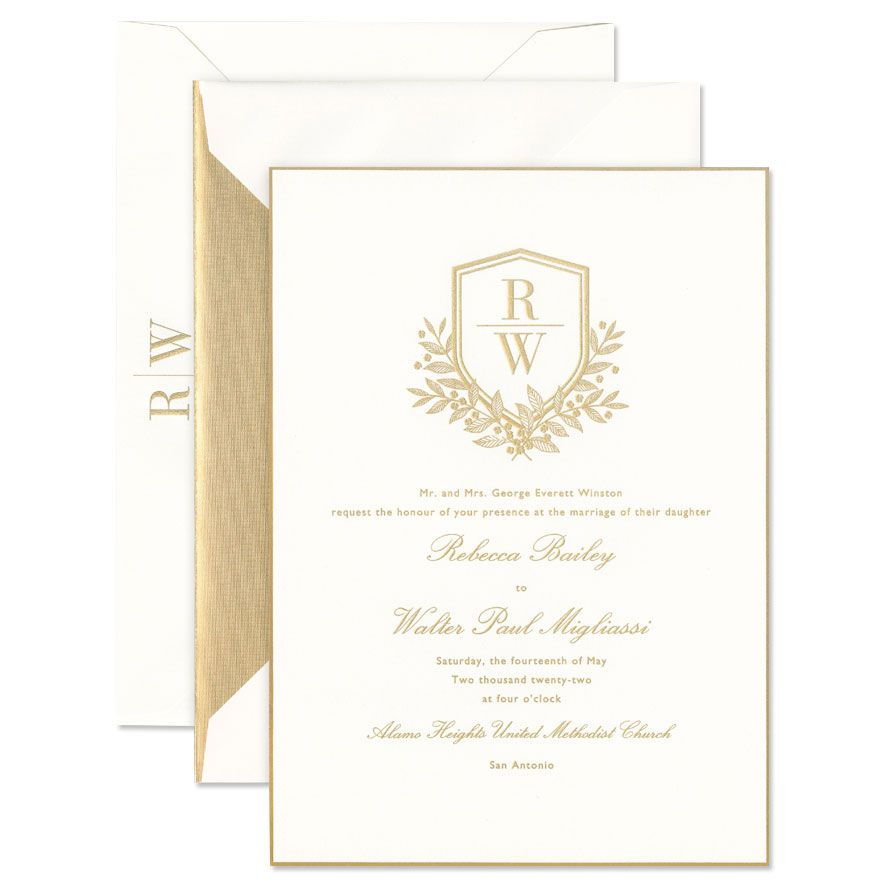 Oyster with Gold Trim Invitation