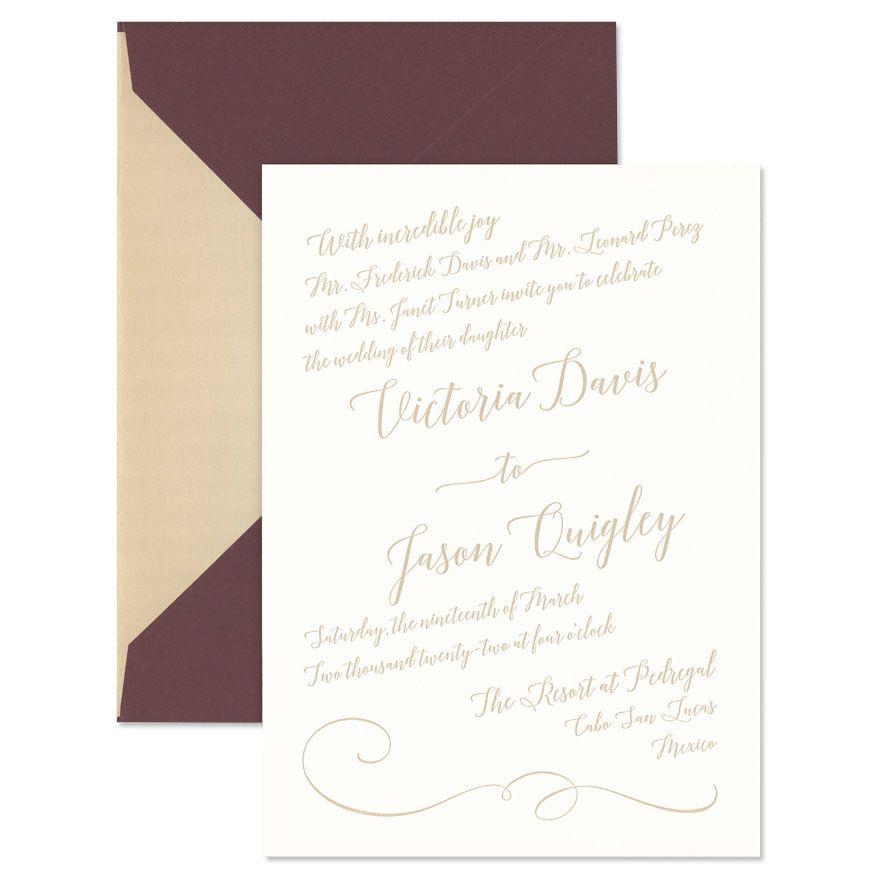Textured Oyster Diagonal Invitation