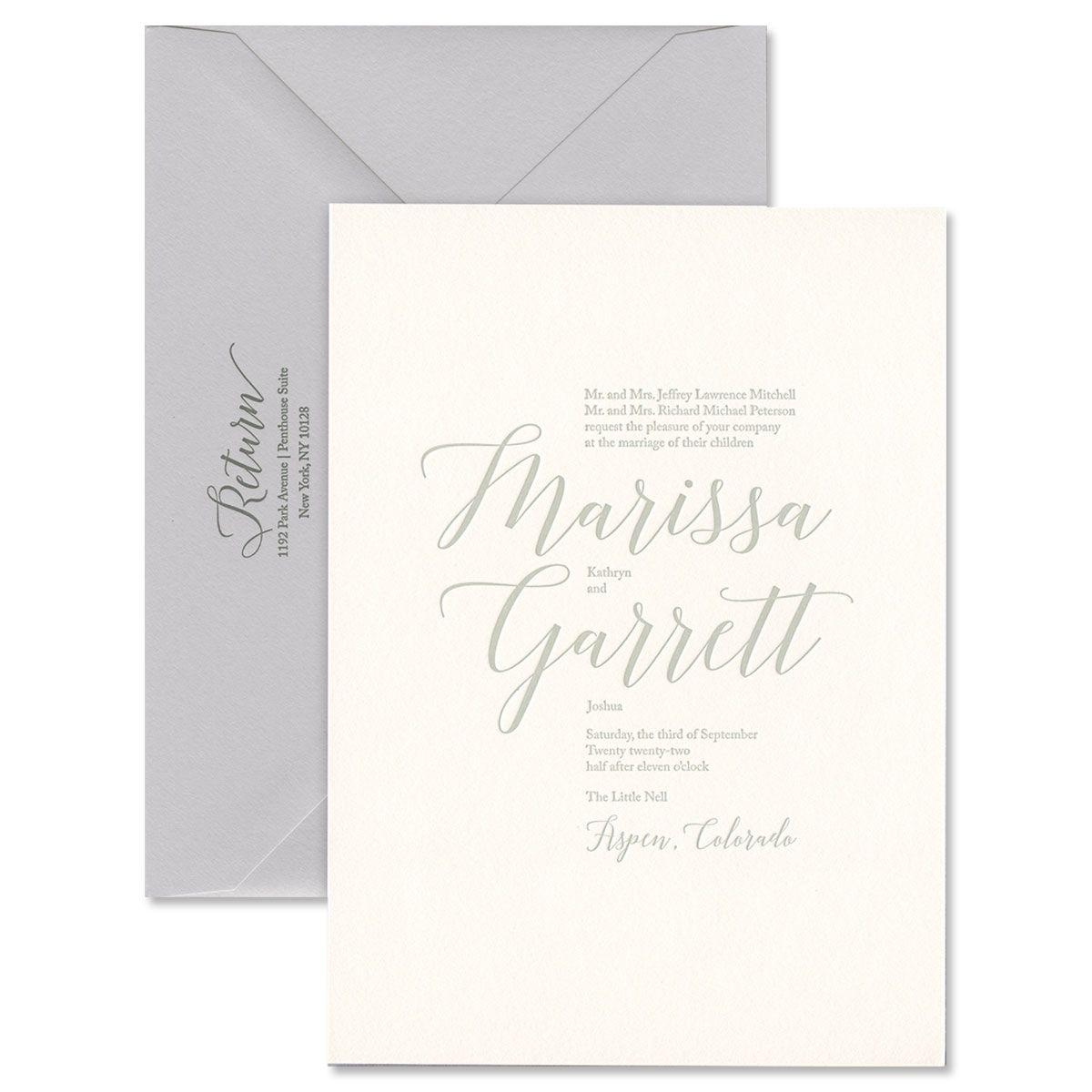 Aspen Textured Oyster Invitation