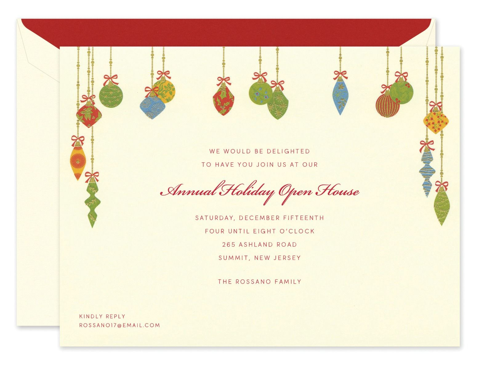 Festive Ornaments Invitation