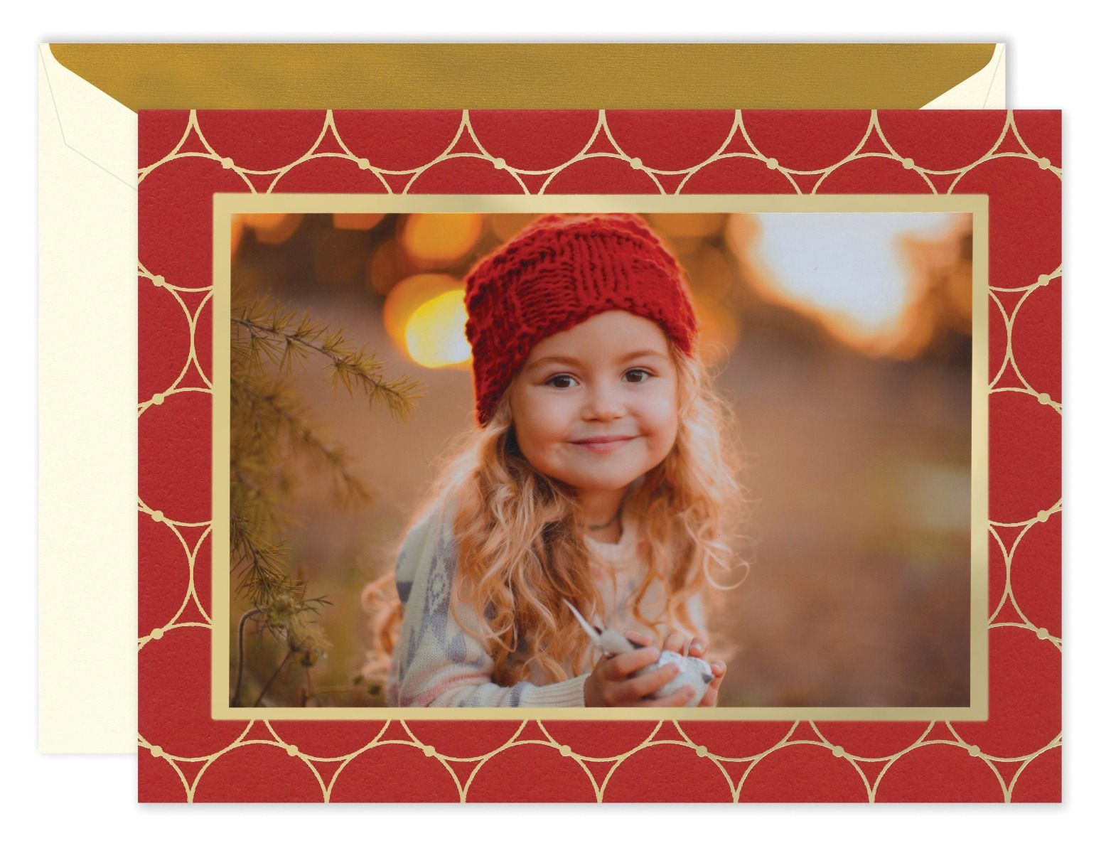 Gold Circles On Scarlet Photo Card