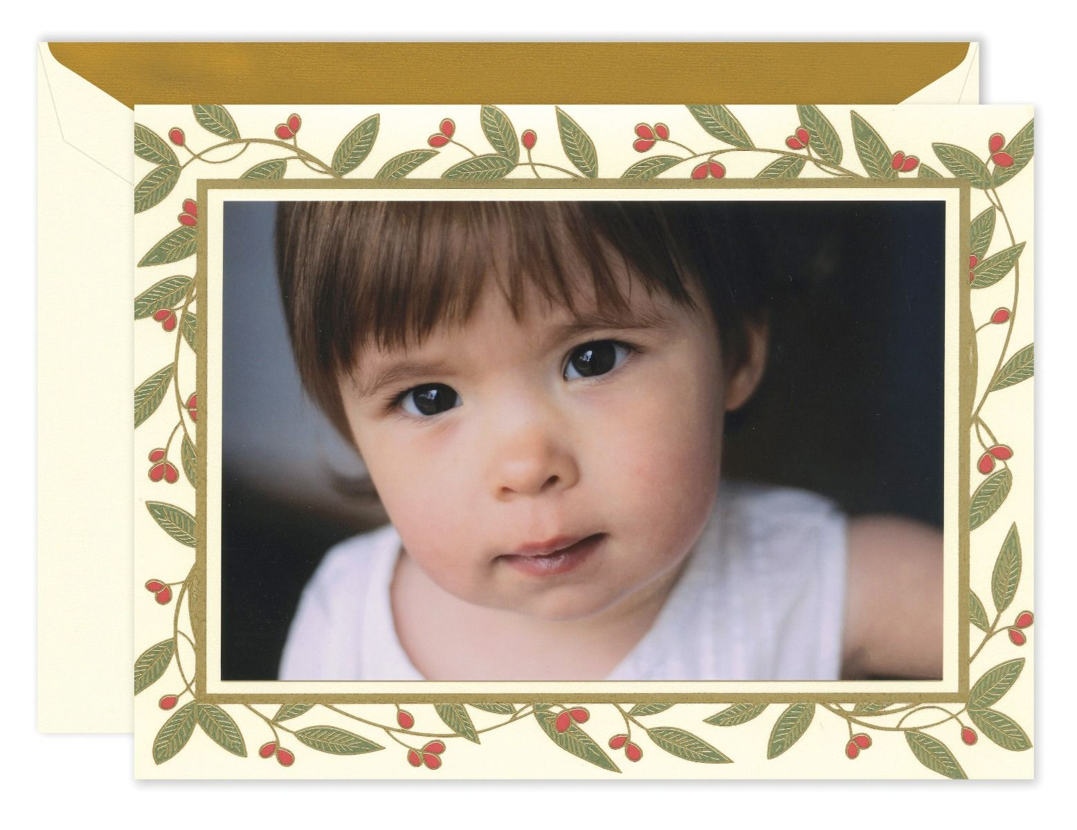 Gilded Berry Branch Mounted Photo Card
