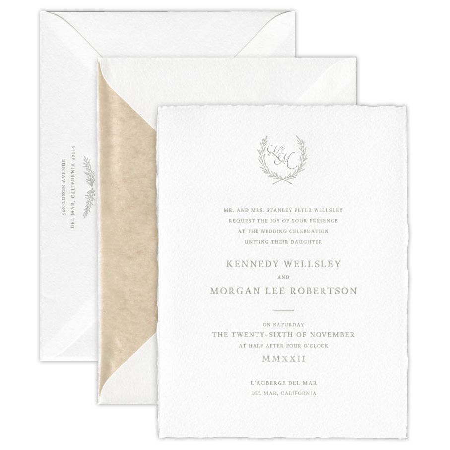Rustic Bright White Imported Invitation
