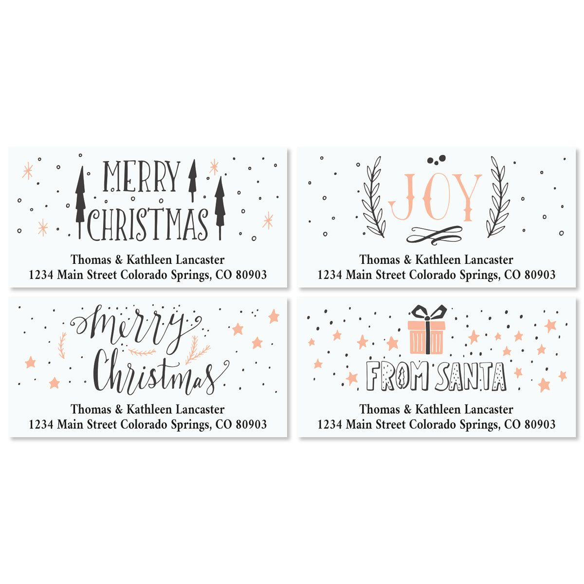 Girly Christmas Deluxe Custom Address Labels (4 Designs)